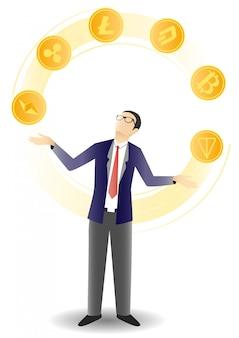 Homme affaires, jonglerie, crypto, pièces, illustration