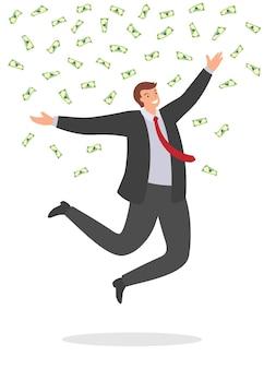 Homme d'affaires joyeux sautant de bonheur sous des factures d'argent en baisse.