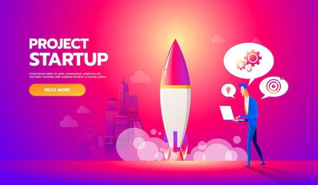 Homme d'affaires lance une fusée dans le ciel. illustration de plat de concept de démarrage d'entreprise. l'employé supervise le décollage d'un vaisseau spatial.