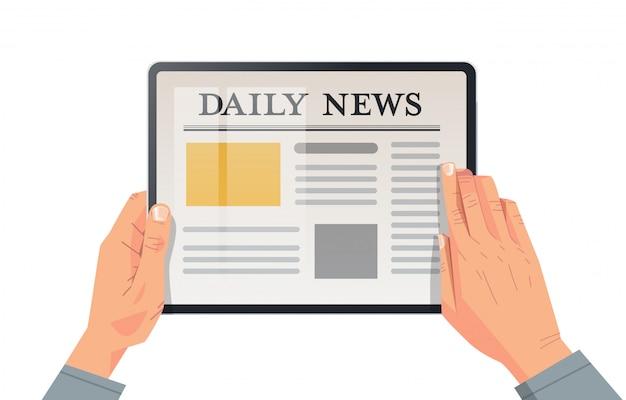 Homme affaires, lecture, quotidien, nouvelles, articles, sur, écran tablette, journal en ligne, presse, mass media, concept