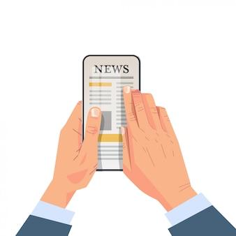 Homme affaires, lecture quotidienne, articles nouvelles, sur, smartphone, écran, application mobile, journal en ligne