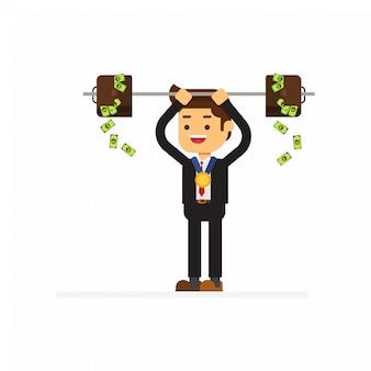 Homme d'affaires lève un bar-bell avec des mallettes pleines d'argent