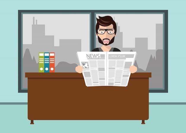 Homme d'affaires, lisant le journal au bureau