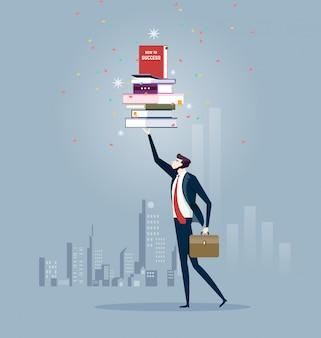 Homme d'affaires et livres
