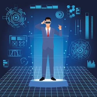 Homme d'affaires avec des lunettes virtuelles