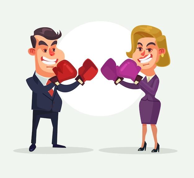 Homme d'affaires luttant contre le caractère de la femme d'affaires.