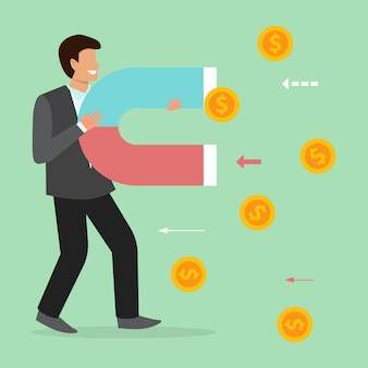 L'homme d'affaires magnétique attire les pièces de monnaie, l'argent, les finances.