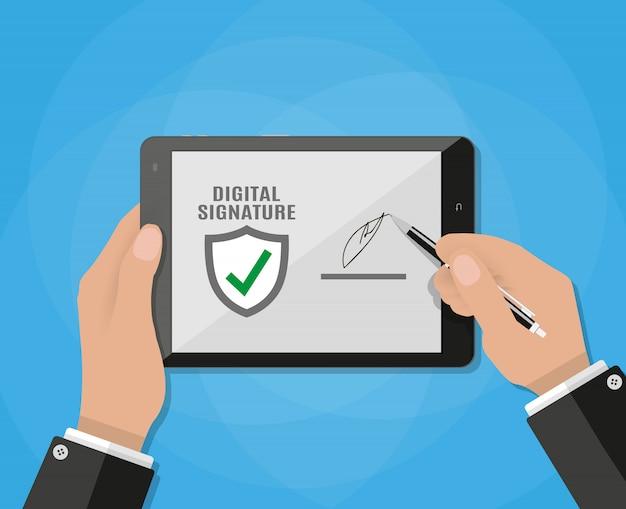 Homme d'affaires main signe signature numérique sur tablette.
