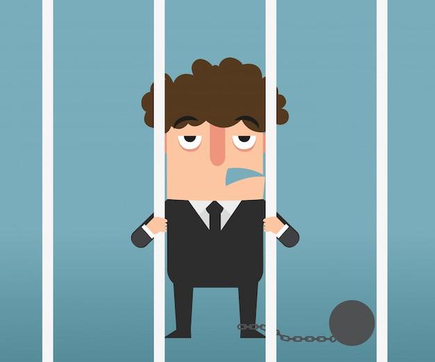 Homme d'affaires main tenant des barres métalliques en illustration de prison.