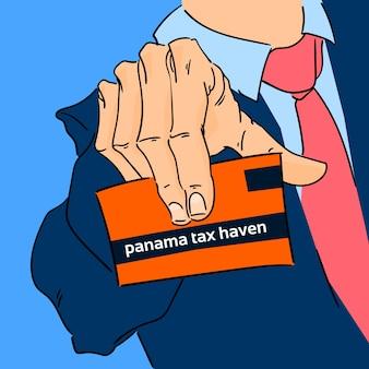 Homme d'affaires main tenant une carte panama