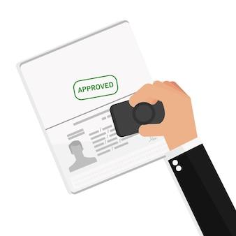 Homme d'affaires main tenant le document approuvé de voyage