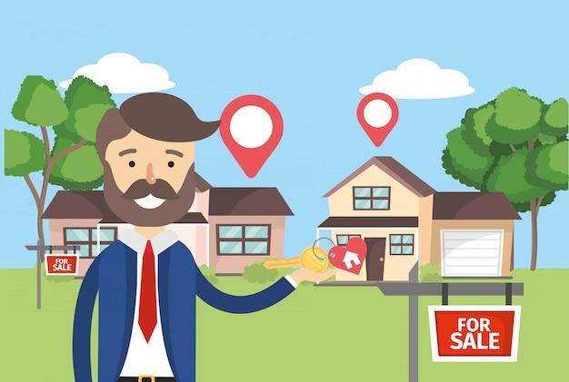 Homme d'affaires avec les maisons vendre la propriété et l'emplacement