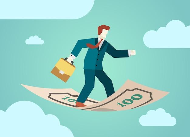 Un homme d'affaires avec une mallette de diplomate vole debout sur des billets de banque en argent commercialisation des finances