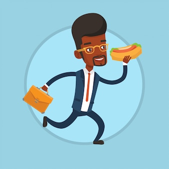 Homme d'affaires, manger des hot-dogs en fuite.
