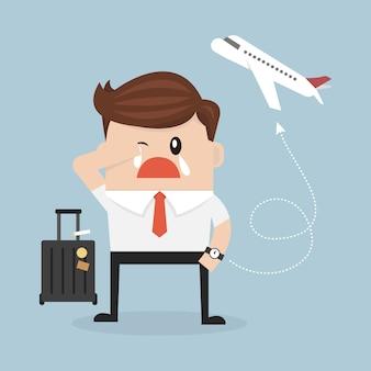 Homme d'affaires manquant l'avion