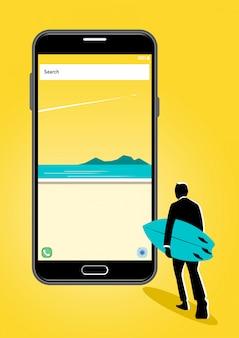 Homme d'affaires marchant avec une planche de surf