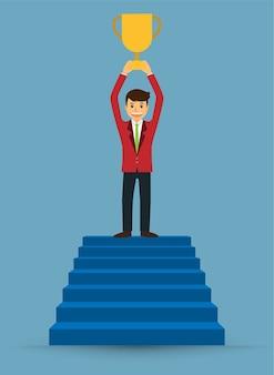 Homme affaires, marche haut, escaliers