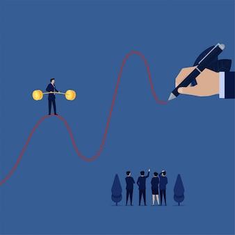 Homme d'affaires marcher au-dessus de la ligne graphique de haut en bas métaphore de la croissance de carrière.