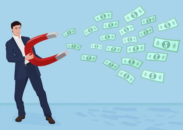 Homme d'affaires masculin, obtenir de l'argent avec un concept de grand aimant.
