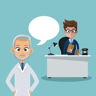 Homme d'affaires et médecin dans les dessins animés de bureau