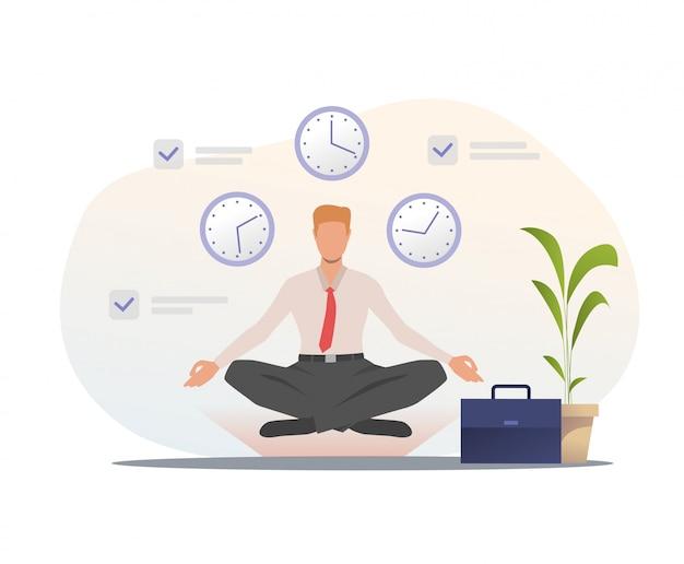 Homme affaires, méditer, bureau