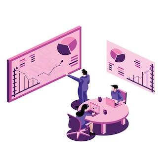 Homme affaires, mener, présentation, pendant, réunion, bureau