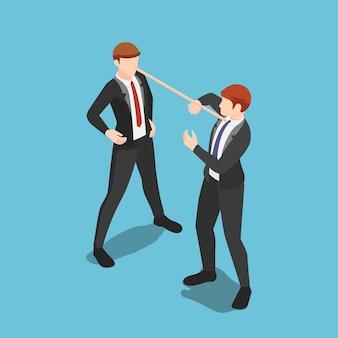 Homme d'affaires menteur isométrique plat 3d avec un long nez parlant des mensonges à son partenaire