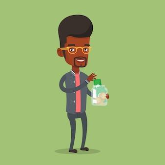 Homme affaires, mettre, dollar, argent, verre, pot