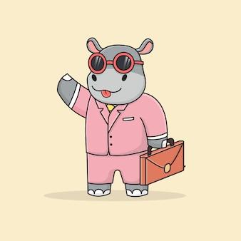 Homme d'affaires mignon hippopotame avec mallette et lunettes de soleil