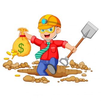 Homme d'affaires minier pour trouver des bitcoins