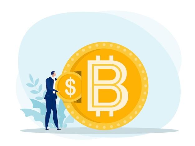 Homme d'affaires a mis un échange de pièces en dollars contre bitcoin.
