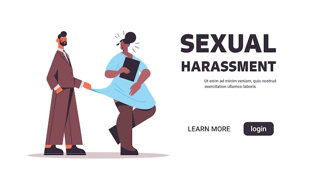 Homme d & # 39; affaires molester le harcèlement sexuel d & # 39; une employée au travail concept patron lascif touchant la robe du secrétaire bannière horizontale