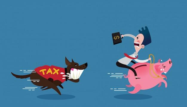 Homme d'affaires monter sur le cochon s'enfuir le chien