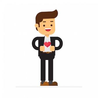 Homme d'affaires montrant un coeur sur une chemise rouge sous son costume