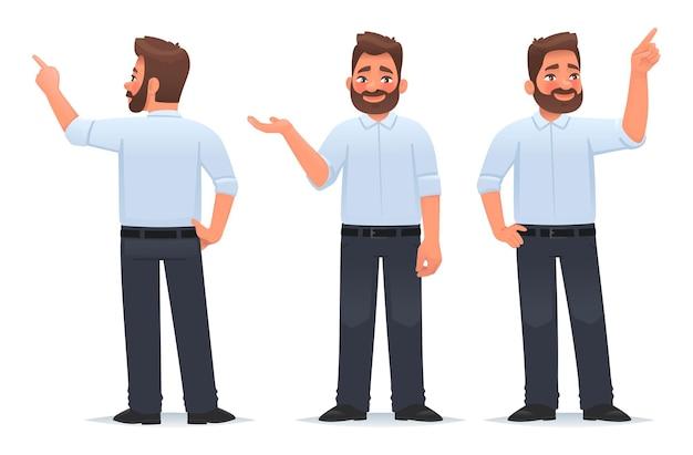 L'homme d'affaires montre et indique quelque chose le gars pointe son doigt tient un objet dans sa paume