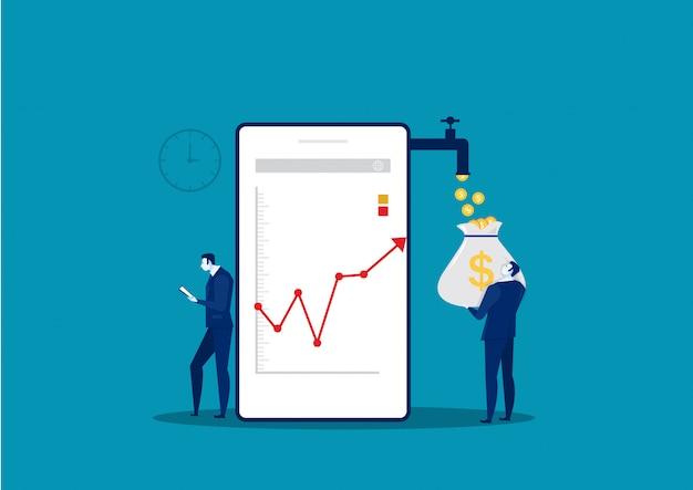 Homme d'affaires montre un téléphone analyser la croissance marché graphique graphique stock illustration.