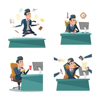 Homme d'affaires multitâche au travail