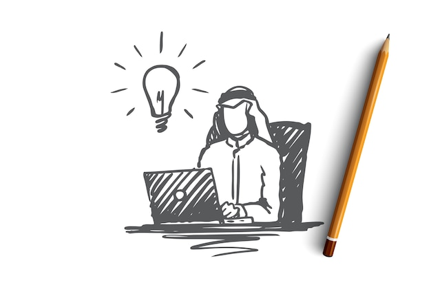Homme d'affaires, musulman, arabe, islam, idée, concept de brainstorming. homme d'affaires musulman dessiné main travaillant avec croquis de concept d'ordinateur portable.