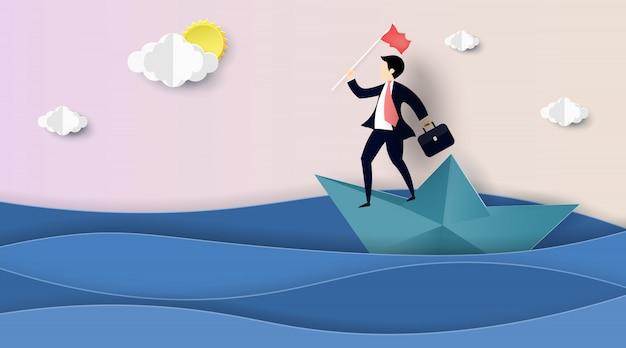 Homme d'affaires naviguant sur un bateau en papier.