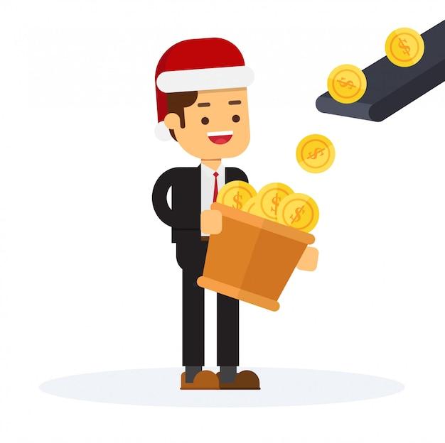 Homme d'affaires de noël se tient devant la machine de production d'argent