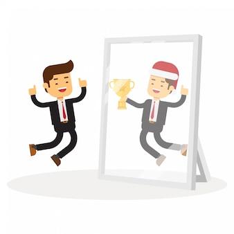 Homme d'affaires de noël se voit réussir dans un miroir