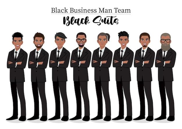 Homme d'affaires noir ou personnage masculin africain américain, bras croisés posent dans l'illustration de costume noir.
