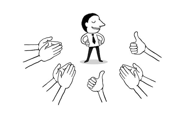 Homme d'affaires avec de nombreuses mains applaudissements ovation