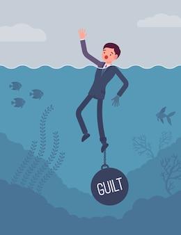 Homme d'affaires noyé enchaîné avec un poids de culpabilité