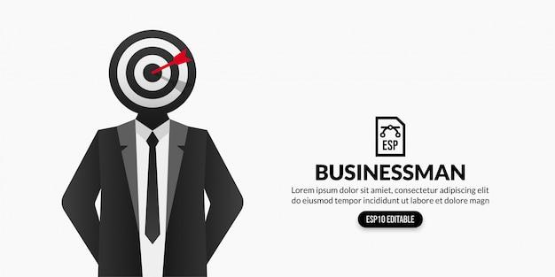 Homme d'affaires avec objectif cible au lieu de la tête sur fond blanc avec espace de copie