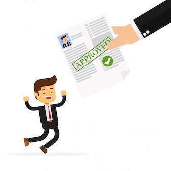 Homme d'affaires obtenant l'approbation du crédit