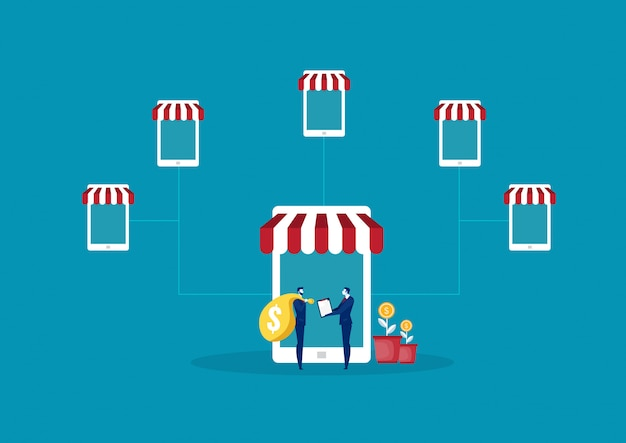 Homme d'affaires offrant une franchise avec un document contractuel à client.vector