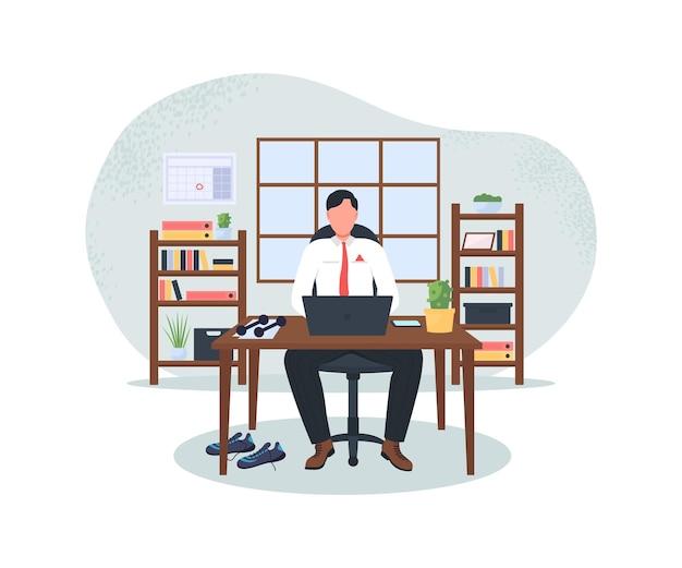 Homme d & # 39; affaires à l & # 39; ordinateur après l & # 39; entraînement bannière web 2d, illustration de l & # 39; affiche