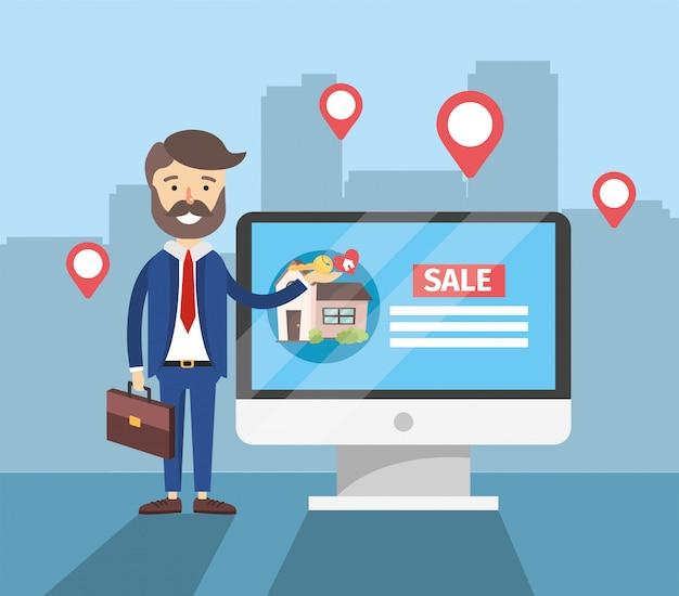 Homme affaires, ordinateur, maison, vente, emplacement