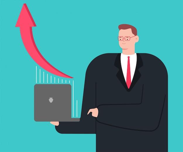 Homme d'affaires avec ordinateur portable et graphique de plus en plus. personnage de dessin animé de vecteur isolé.
